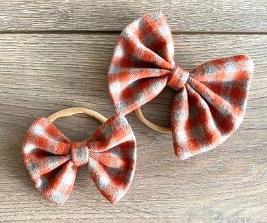 Orange Plaid Bow