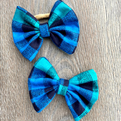 Denim and Teal Plaid Bow