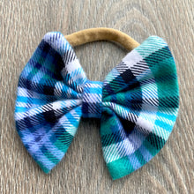 Load image into Gallery viewer, Periwinkle and Teal Plaid Bow