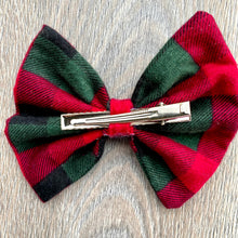 Load image into Gallery viewer, Pine Green and Candy Red Plaid Bow
