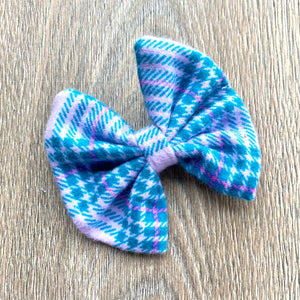 Lilac and Teal Plaid Bow