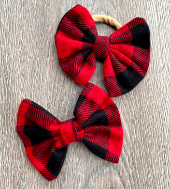 Candy Red and Black Plaid Bow