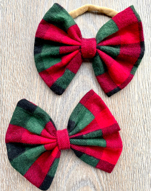 Pine Green and Candy Red Plaid Bow