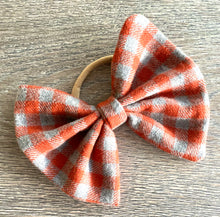Load image into Gallery viewer, Orange Plaid Bow