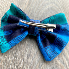 Load image into Gallery viewer, Denim and Teal Plaid Bow