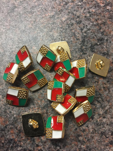 White, green, red and gold buttons