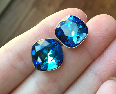 Cushion Cut Swarovski Crystal Studs
