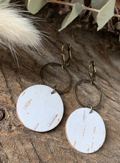 White Birch Sophia Leather Earrings