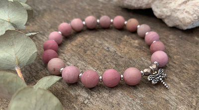 "Rhodonite Dragonfly ""Love"" Bracelet"