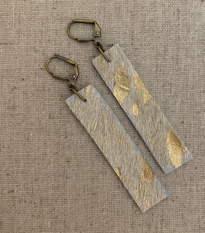 Gold Acid Wash Hair on Hide Leather Earrings