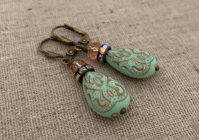 Vintage Style Mint Earrings