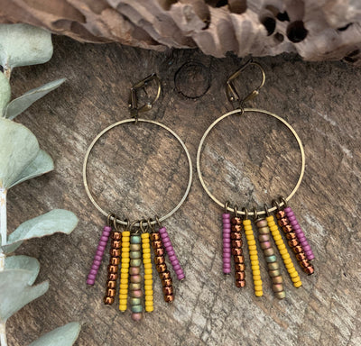 Tumeric Beaded Fringe Earrings