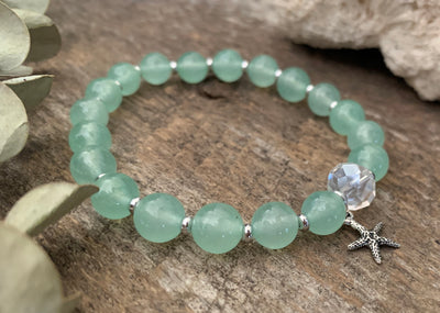 "Green Quartz & Crystal Starfish ""Calming"" Bracelet"