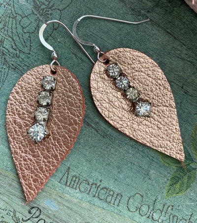 Petite Rose Gold Leather Earrings with Vintage Rhinestones