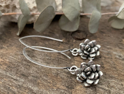 Silver Succulent Earrings