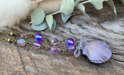 Purple Mermaid Seashell Locket Necklace