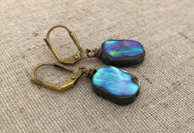 Glowing Paua Shell Earrings