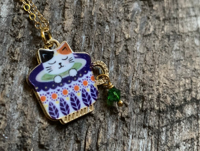 Green Tea Party Cat Necklace