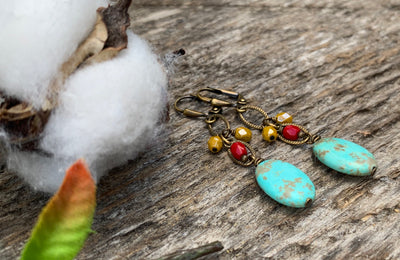 Boho Turquoise Dangle Earrings