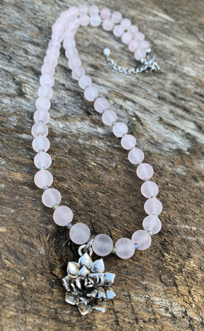 Rose Quartz Succulent Necklace