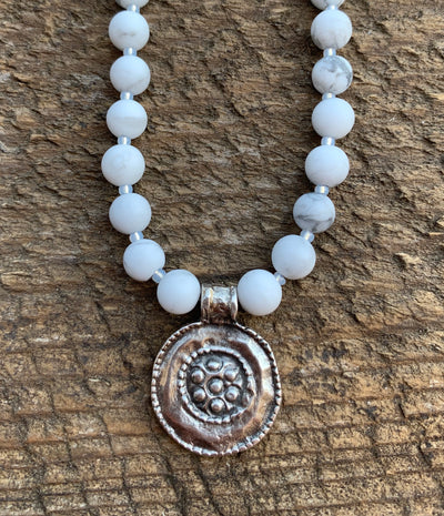 White Howlite Disk Necklace
