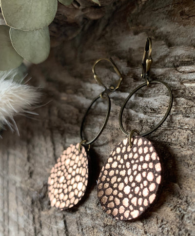 Rose Gold & Chocolate Sophia Leather Earrings