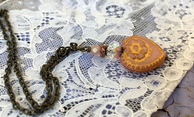 Petite Czech Glass Flower Necklace