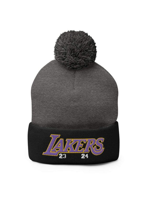 LAKERS MAMBA Embroidered Pom-Pom Beanie - Geistwear