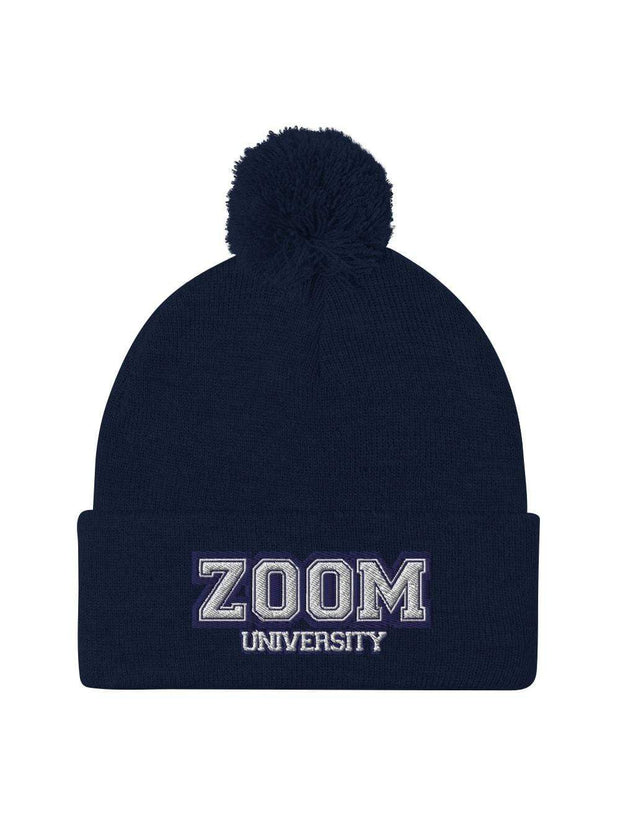 Zoom University Embroidered Pom-Pom Beanie - Geistwear