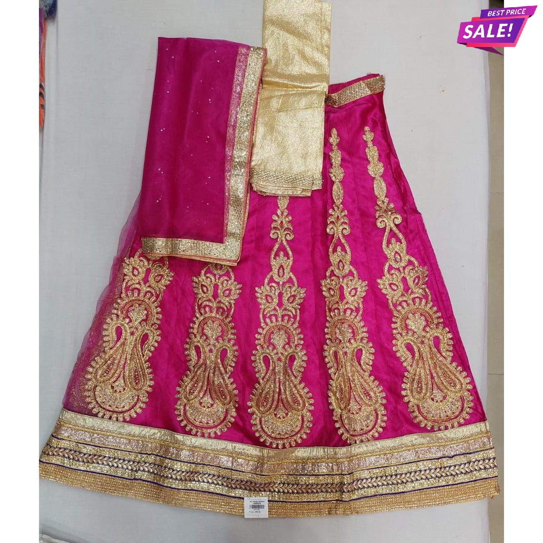 Newapsara Pink Semi-Stitched Lehenga & Blouse with Dupatta