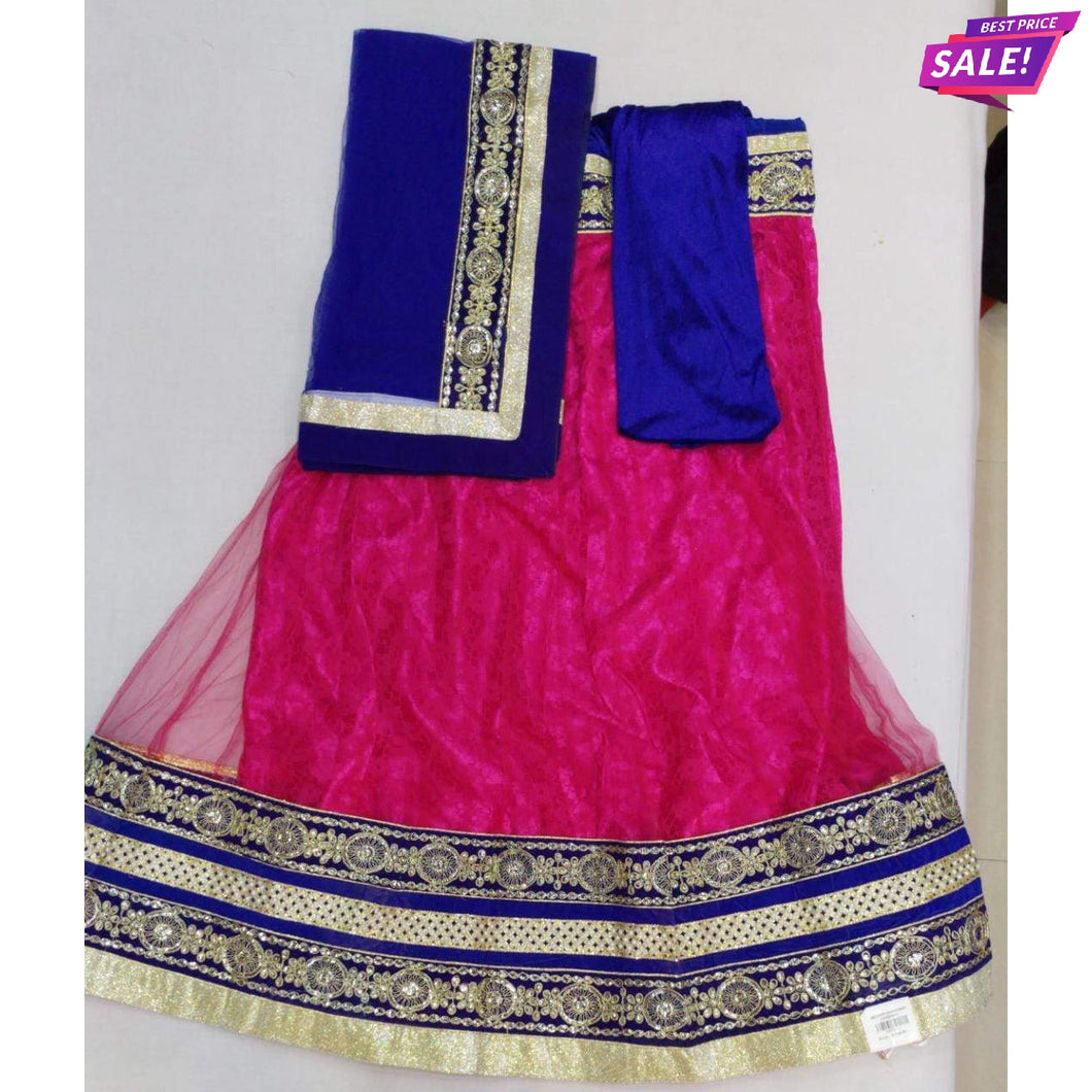 Newapsara Magenta Semi-Stitched Lehenga & Blouse with Dupatta