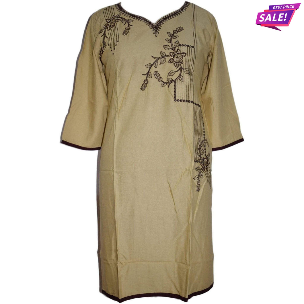 Aps Beige Rayon Embroidered Kurti-New Apsara