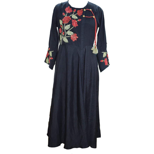 Aps Black Cotton Embroidered Kurti