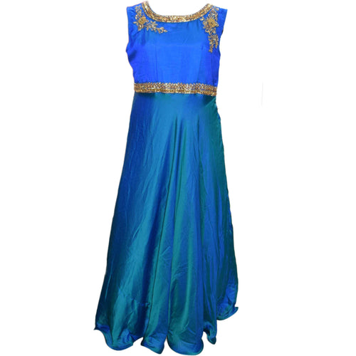 Aps Blue Faux Silk Embellished Party Wear Gown