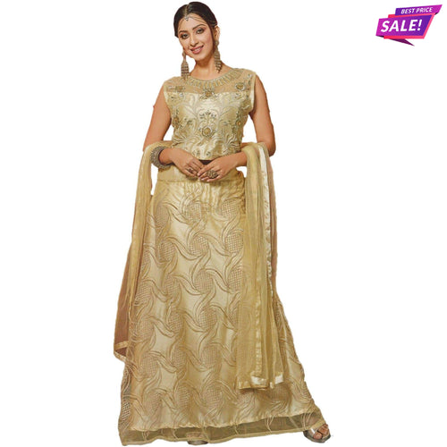 Aps Cream Stitched Lehenga & Stitched Blouse with Net Dupatta-New Apsara