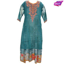 Load image into Gallery viewer, Aps Cyan Chanderi Silk Embroidered Kurti-New Apsara