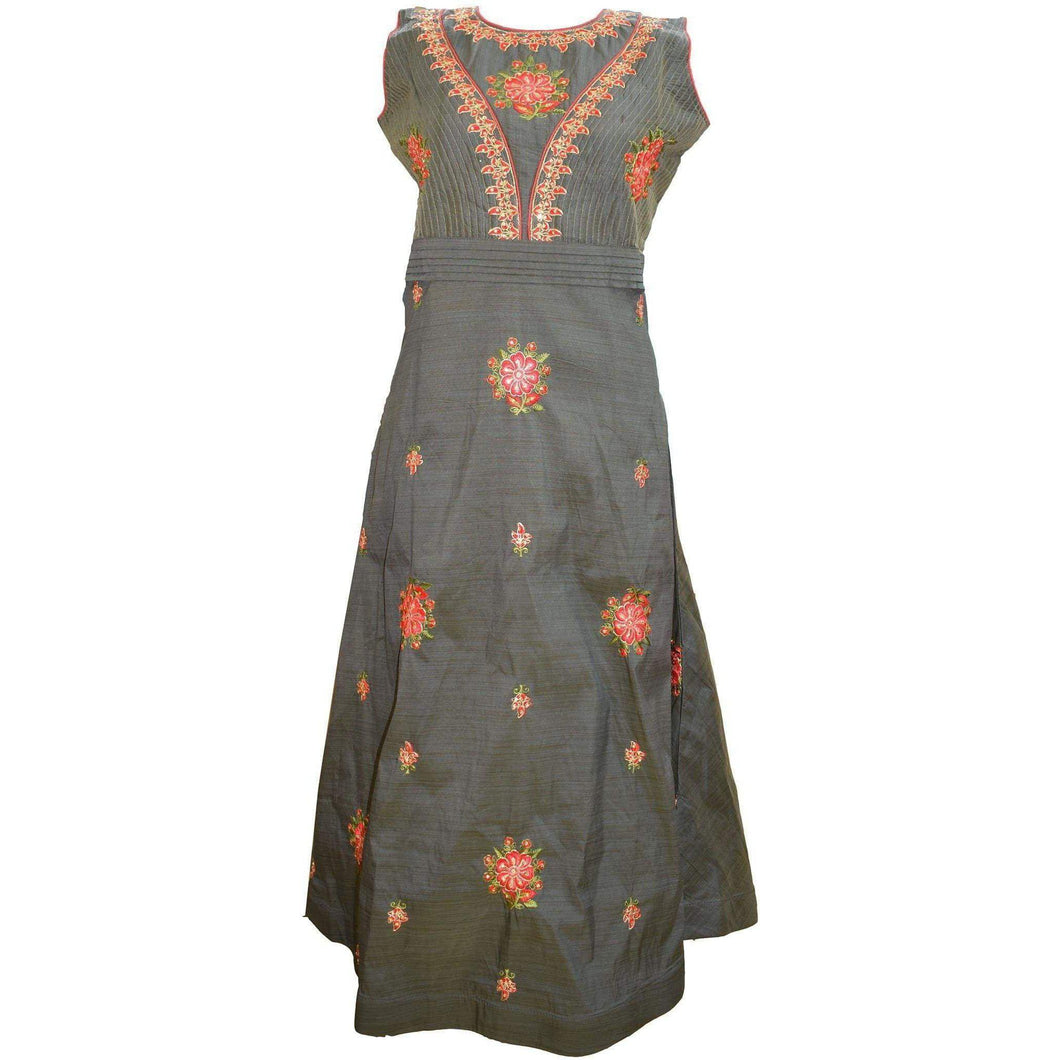Aps Gray Cotton Embroidered Party Wear Gown