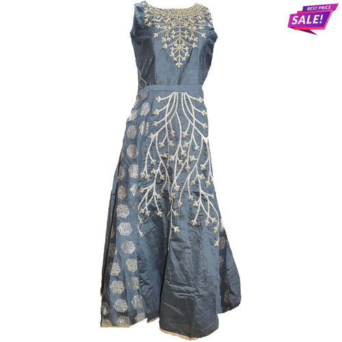 Aps Gray Faux Silk Embellished Party Wear Gown