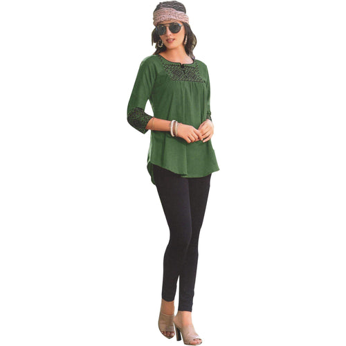 Aps Green Cotton Embroidered Kurti