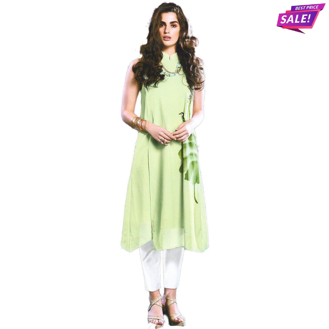 Aps Green Mix Fabrics Printed Kurti-New Apsara