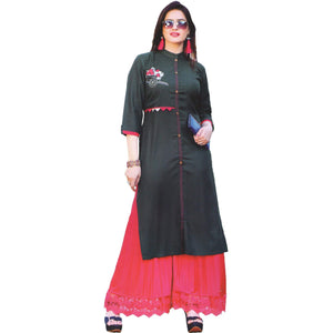 Aps Green Solid Embellished Kurti-New Apsara
