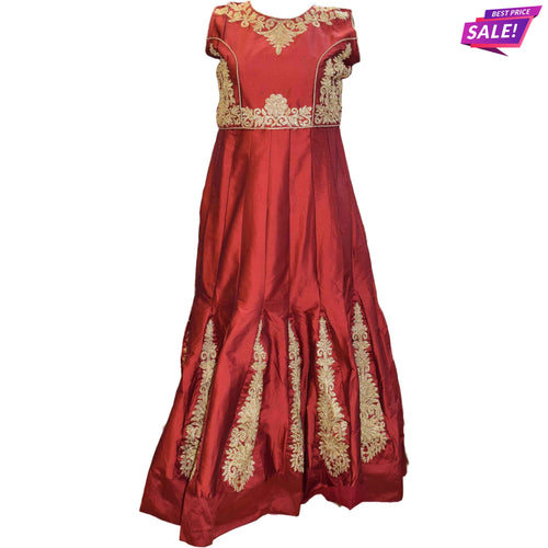 APS MAROON FAUX SILK EMBELLISHED GOWN
