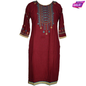 Aps Maroon Rayon Embroidered Kurti-New Apsara