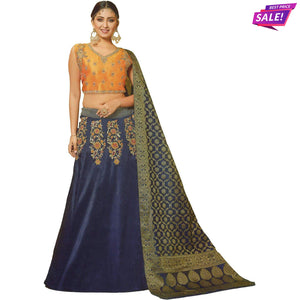 Aps Navy Blue and Orange Stitched Lehenga & Stitched Blouse with Banarasi Dupatta-New Apsara