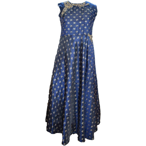 Aps Navy Blue Faux Silk Embellished Party Wear Gown-New Apsara