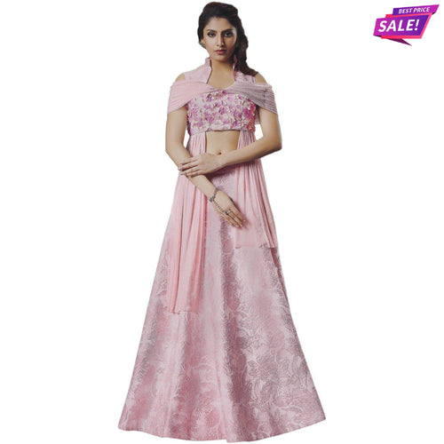 Aps Pink Art Silk Unstitched Lehenga & Blouse with Dupatta-New Apsara