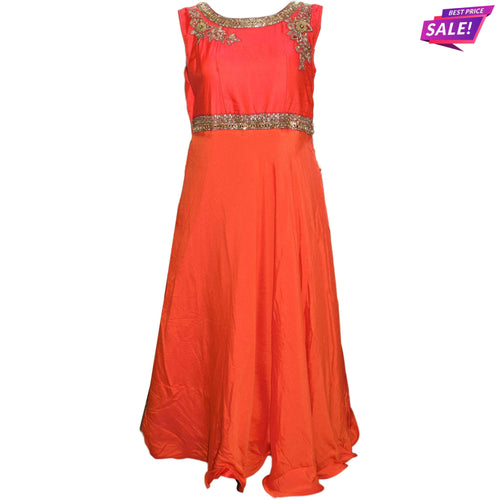 Aps Pink & Orange Faux Silk Embellished Party Wear Gown-New Apsara