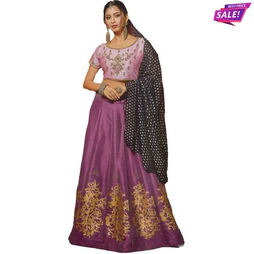 Aps Purple and Pink Stitched Lehenga & Stitched Blouse with Dupatta
