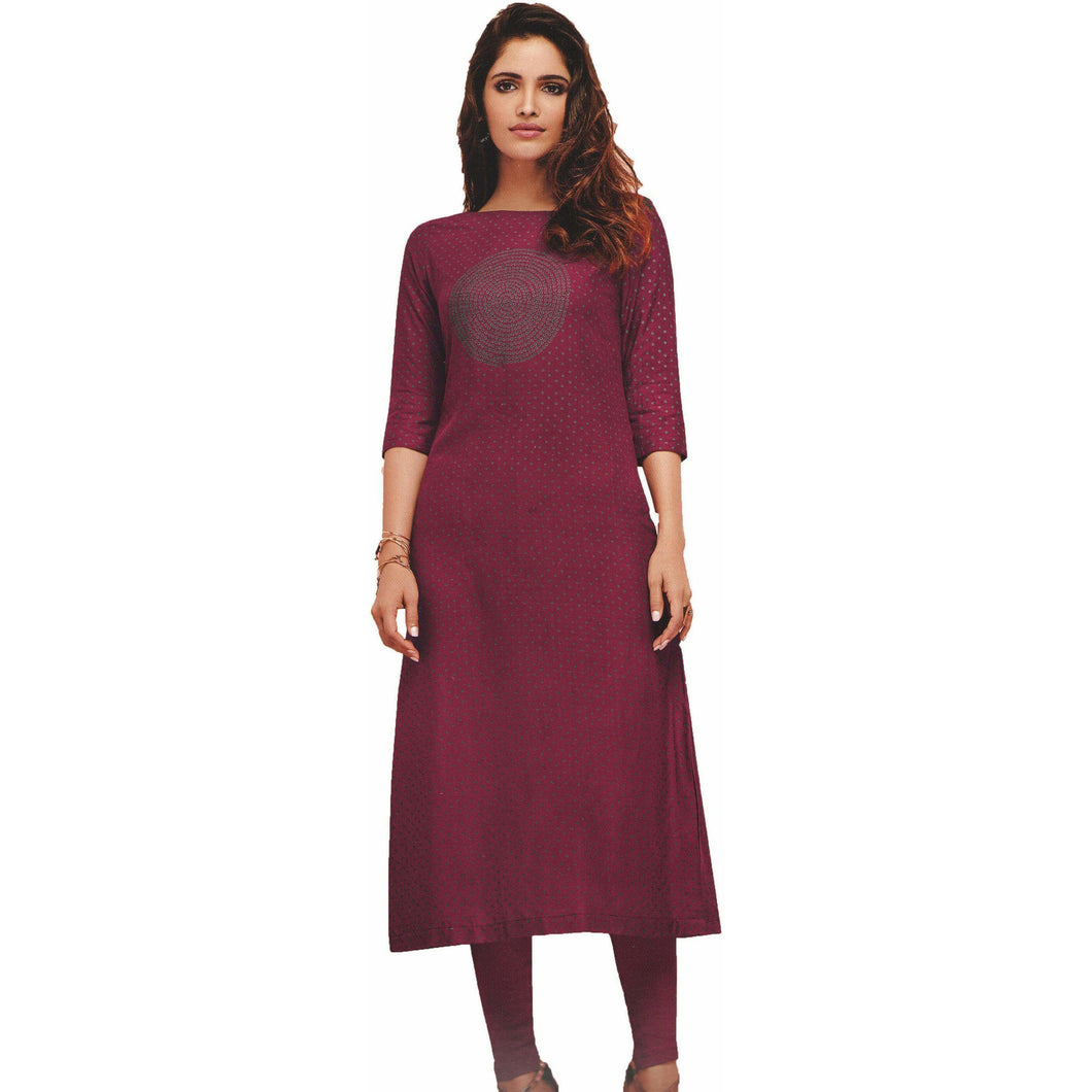 Aps Purple Rayon Printed Kurti-New Apsara