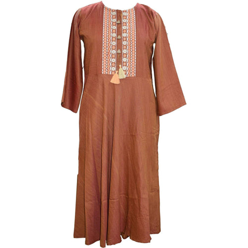 Aps Solid Brown Cotton Embroidered Kurti